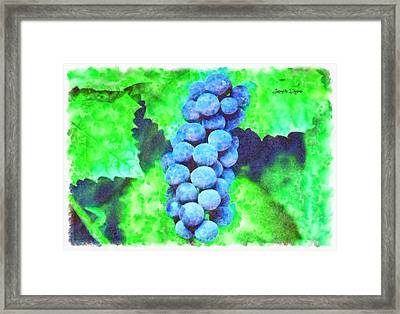 Blue Grapes  - Watercolor Style -  - Da Framed Print by Leonardo Digenio