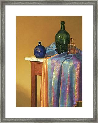 Blue Green And Gold Framed Print by Barbara Groff