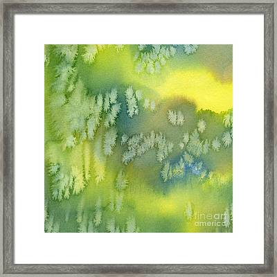 Blue Green And Yellow Abstract Watercolor Design 1 Framed Print