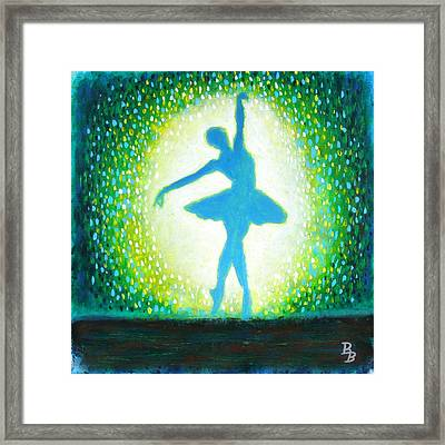 Framed Print featuring the painting Blue-green Ballerina by Bob Baker