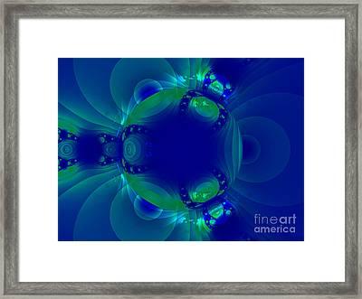 Blue Green Globe Luminant Fractal Framed Print