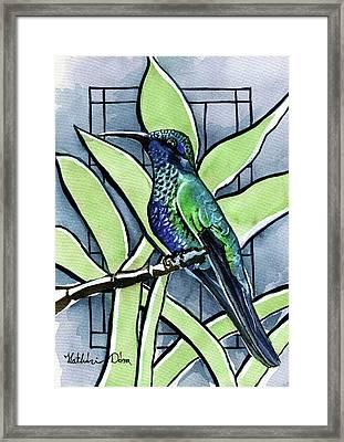 Blue Green Hummingbird Framed Print