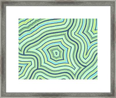 Framed Print featuring the drawing Blue Green Pattern Play by Jill Lenzmeier