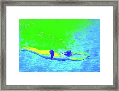 Blue-green Psychedelic Makua Mermaid Framed Print by Erika Swartzkopf