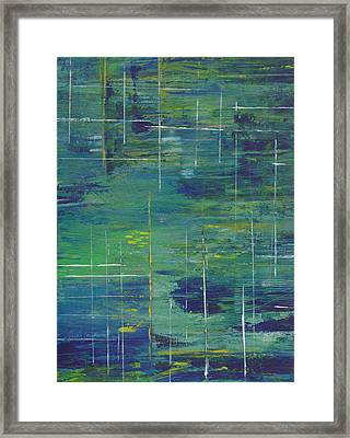 Blue Green Yellow Abstract  Framed Print by Patricia Cleasby