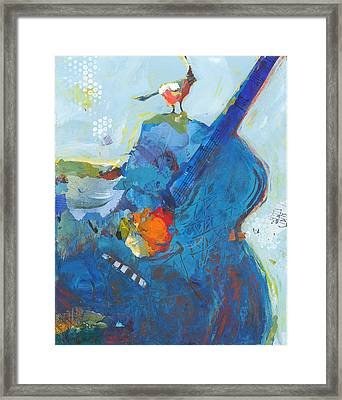 Blue Guitar With Bird Framed Print