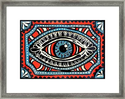 Framed Print featuring the painting Blue Gypsi Eye by Nada Meeks