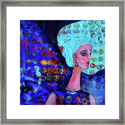 Blue Haired Girl On Windy Day Framed Print