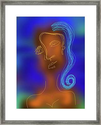 Blue Haired Woman Framed Print by Russell Pierce