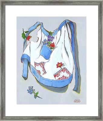 Blue Handkerchief Apron Framed Print