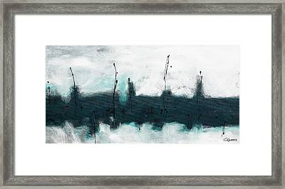 Framed Print featuring the painting Blue Harbour by Carmen Guedez