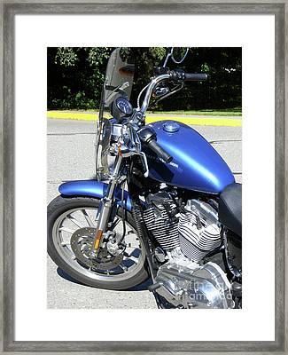 Blue Harley One Framed Print by Attila Jacob Ferenczi