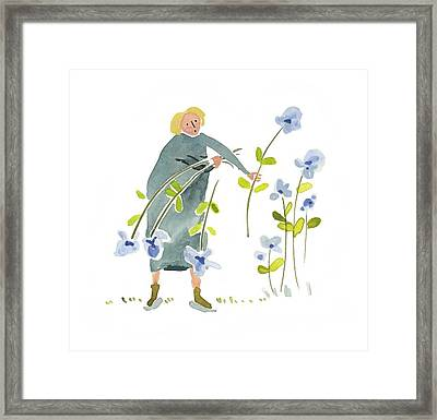 Framed Print featuring the painting Blue Harvest by Leanne WILKES