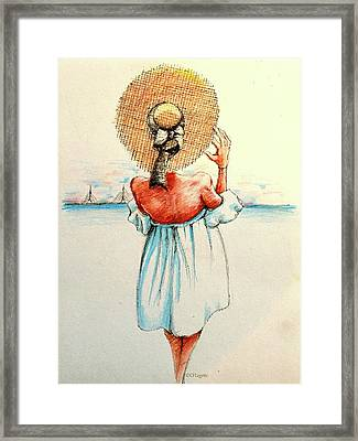 Blue Dress On The Coast Framed Print by C F Legette