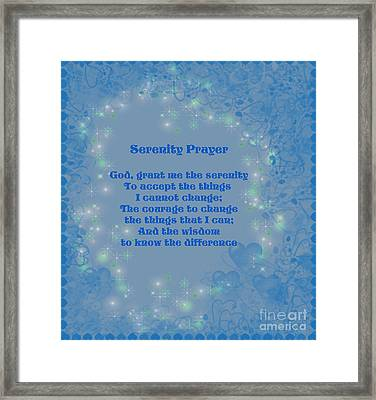 Blue Hearts Serenity Prayer Framed Print