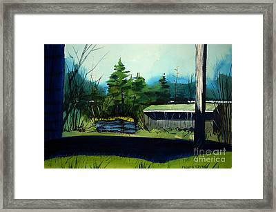 Framed Print featuring the painting Blue Heron Lake Matted, Framed, Glassed by Charlie Spear