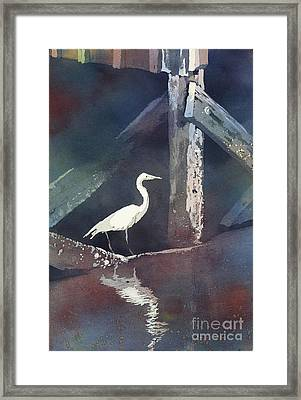 Framed Print featuring the painting Blue Heron- Outer Banks by Ryan Fox