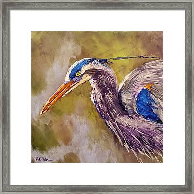 Blue Heron Framed Print by Rick Osborn