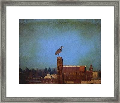 Blue Heron Sky Painted Framed Print