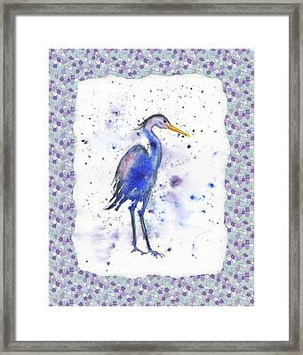 Framed Print featuring the painting Blue Heron Watercolor by Irina Sztukowski