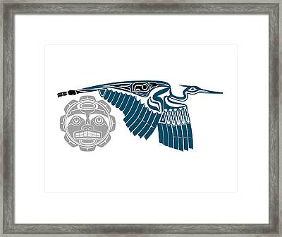 Blue Heron With Moon Framed Print by Fred Croydon