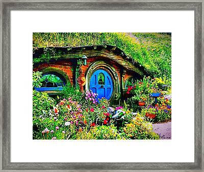Blue Hobbit Door Framed Print