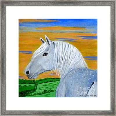 Blue Horse Framed Print by Anna Folkartanna Maciejewska-Dyba