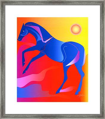 Blue Horse Framed Print by Mary Armstrong