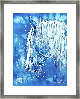 Framed Print featuring the painting Blue Horse by Zaira Dzhaubaeva