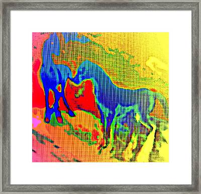 Blue Horses Having A Date  Framed Print by Hilde Widerberg