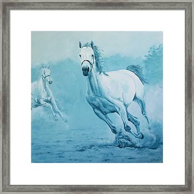 Blue Horses Framed Print by Willem Arendsz