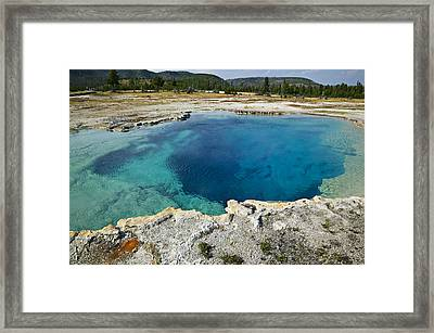 Blue Hot Springs Yellowstone National Park Framed Print by Garry Gay