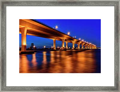 Blue Hour At Roosevelt Bridge In Stuart Florida  Framed Print