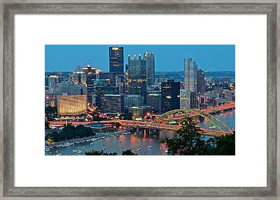 Blue Hour In Pittsburgh Framed Print by Frozen in Time Fine Art Photography