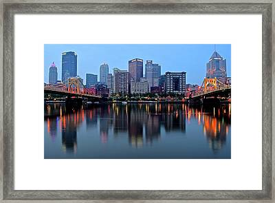 Blue Hour On The River Framed Print by Frozen in Time Fine Art Photography