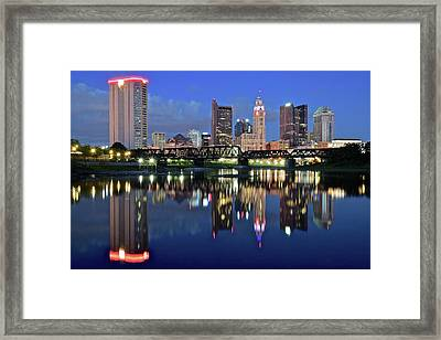 Blue Hour On The Scioto Framed Print by Frozen in Time Fine Art Photography