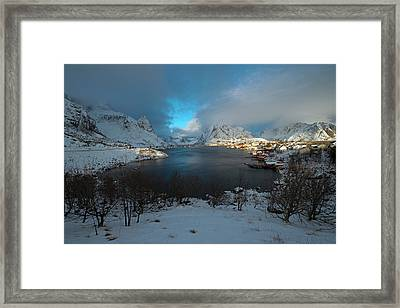 Framed Print featuring the photograph Blue Hour Over Reine by Dubi Roman