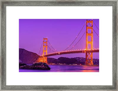 Golden Gate Bridge In The Blue Hour Framed Print