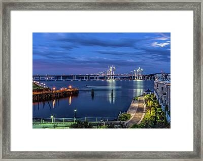 Blue Hour Over The Hudson Framed Print