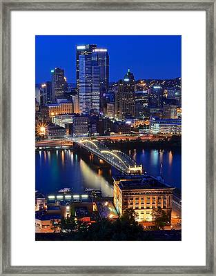 Blue Hour Pittsburgh Framed Print by Frozen in Time Fine Art Photography