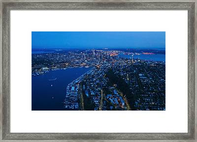 Blue Hour Seattle Aerial Cityscape Framed Print