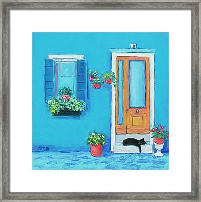 Blue House In Burano Venice Framed Print by Jan Matson