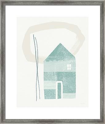 Blue House In Moonlight- Art By Linda Woods Framed Print by Linda Woods