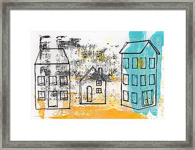 Blue House Framed Print by Linda Woods