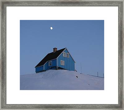 Blue House With Moon Framed Print by Sidsel Genee