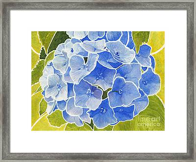 Blue Hydrangea Stained Glass Look Framed Print
