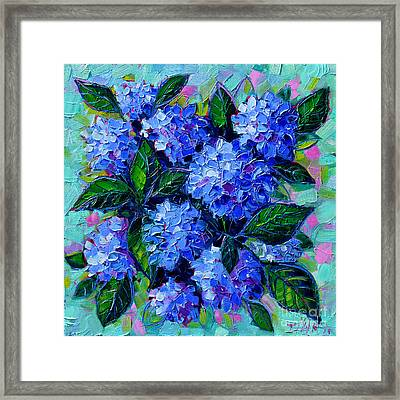 Blue Hydrangeas - Abstract Floral Composition Framed Print by Mona Edulesco