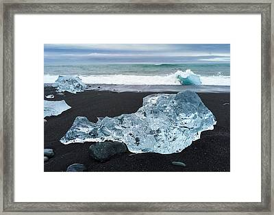 Blue Ice In Iceland Jokulsarlon Framed Print