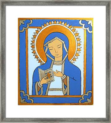Framed Print featuring the painting Blue Icon by Stephanie Moore