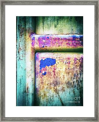 Framed Print featuring the photograph Blue In Iron Door by Silvia Ganora